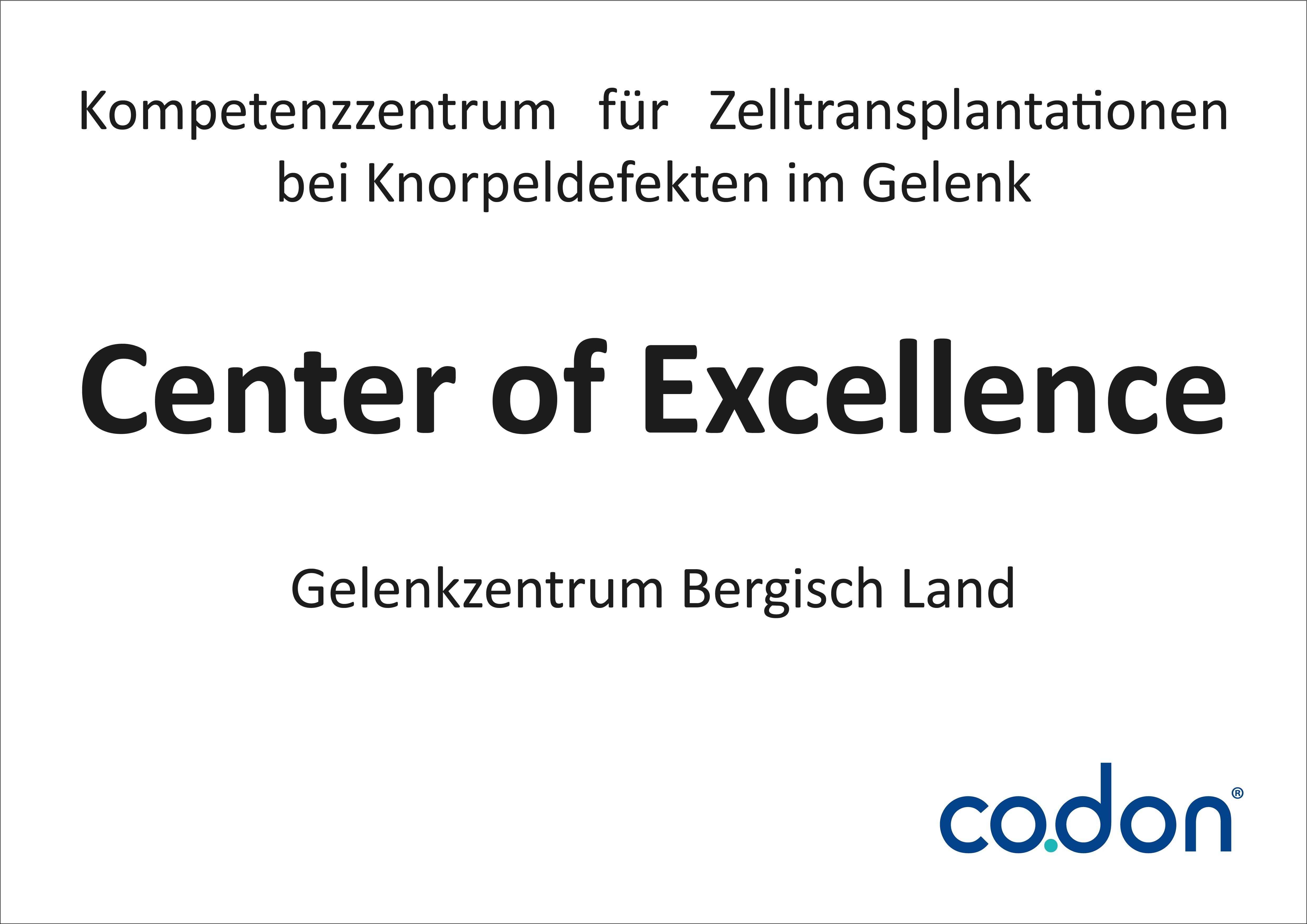 """Zertifikat """"Center of Excellence"""" der Firma Codon für besondere Leistungen im Bereich der Zelltransplantationen bei Knorpeldefekten im Gelenk"""