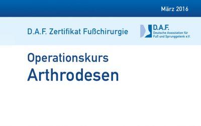 18.-19.03.2016: Operationskurs Arthrodesen