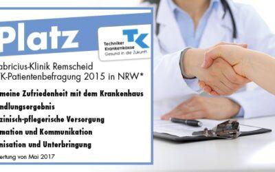 1. Platz für die Sana Fabricius-Klinik Remscheid